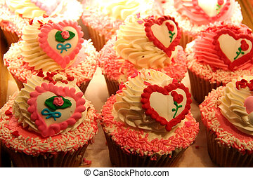 Sweet Heart Cup Cakes Baked in a Batch