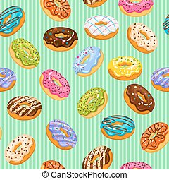 Sweet heart donuts texture. Vector striped background with donut cakes for birthday