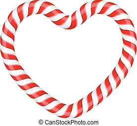 Sweet Heart - Heart made of candy cane, vector eps10...