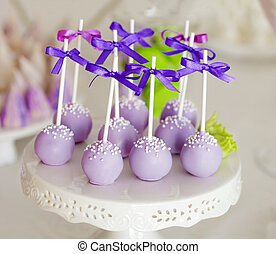Sweet holiday buffet with cake-pops on sticks - Delicious ...