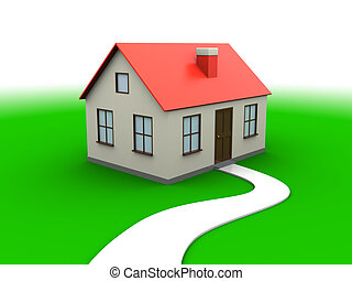 abstract 3d illustration of house over green meadow and white background