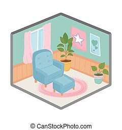 sweet home armchair with plant and frame window decoration
