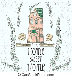 Sweet Home background with twigs.