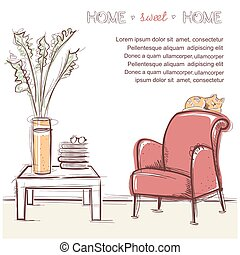 Sweet home card. Vector hand drawing illustration