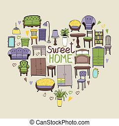 Sweet Home concept with various home accessories and...