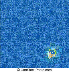 Greeting card with nice color house (sweet home) on monochrome blue pattern background with houses, trees and roofs