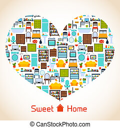Sweet home heart concept