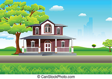 illustration of sweet home on beautiful landscape