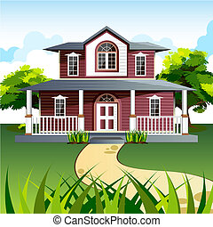 Sweet Home - illustration of front view of house in natural...