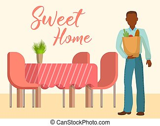 Sweet home interior of the living room with table, chairs and man with products bags vector illustration. Design of a cozy living room with lettering sweet home.