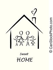 sweet home poster, family simple doodles in a house isolated on a white background, vertical vector illustration