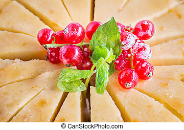 Sweet homemade apple cake with red currant decoration, close up