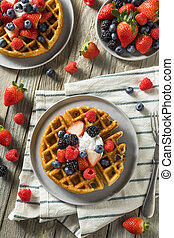 Sweet Homemade Berry Belgian Waffle with Whipped Cream