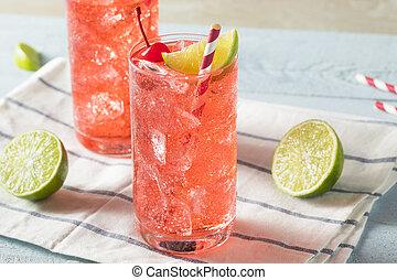 Sweet Homemade Cherry Limeade in a Glass