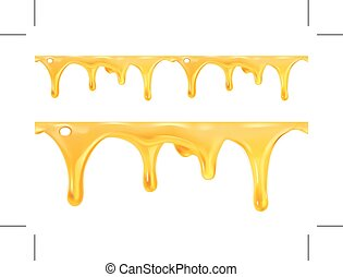Sweet honey drips seamless vector, isolated on white...