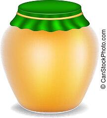 Sweet honey in glass bottle