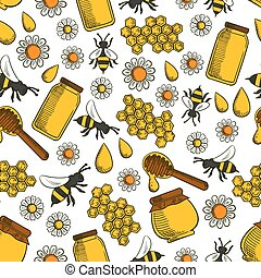 Sweet honey seamless pattern background