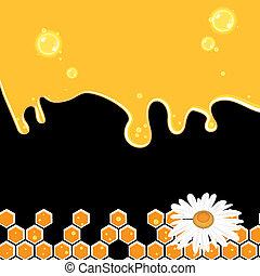 Sweet honey vector illustration, orange black background