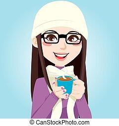 Sweet Hot Chocolate - Portrait of a beautiful brunette woman...