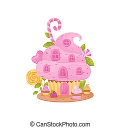 Sweet house in the form of a basket with cream. Vector illustration on white background.