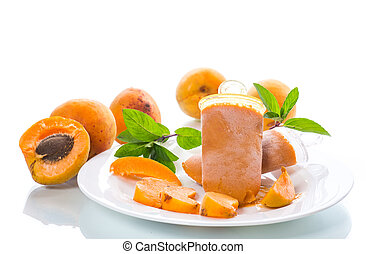 Sweet ice cream from apricots on a white background