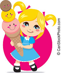 Sweet Ice Cream - Little blonde girl eating a sweet and cute...