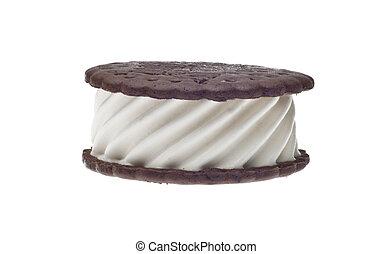 Sweet Ice Cream Sandwich Vanilla and Chocolate Isolated on...
