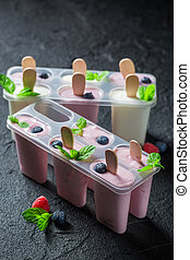 Sweet ice cream with fresh fruits
