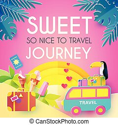 Sweet Journey. Vacation and Travel Design Template....