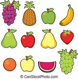 Set of twelve colorful fresh sweet juicy fruits
