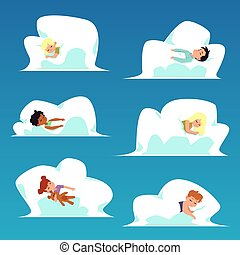 Sweet kids characters set sleeping in clouds flat vector illustration isolated.