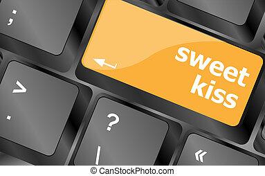 sweet kiss words showing romance and love on keyboard keys