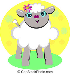 Sweet Lamb with a Flower - Here is a cute Lamb surrounded by...