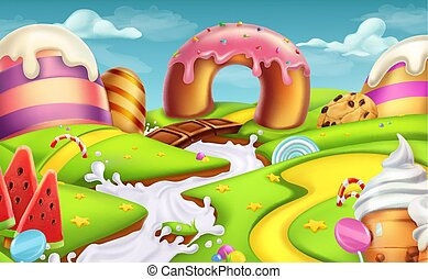 Sweet landscape. 3d vector background