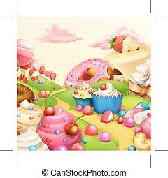 Sweet landscape background - Sweet landscape vector...