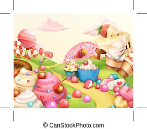 Sweet landscape background - Sweet landscape, vector ...