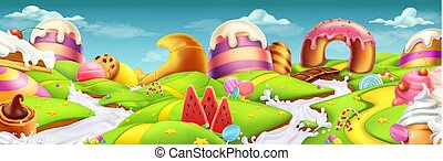Sweet landscape panorama. 3d vector background