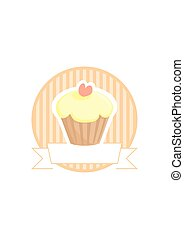 Sweet lemon vector cupcake