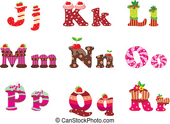 Sweet letters of the alphabet - Vector illustration, color...