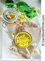 Sweet linden tea with honey for flu