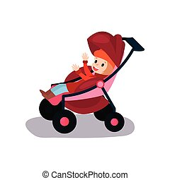 Sweet litlte kid sitting in a modern baby stroller, transporting of small children with comfort cartoon vector illustration