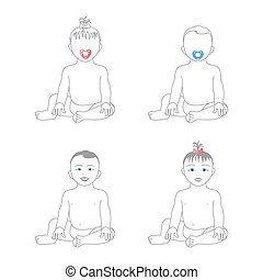 Sweet little baby girl and baby boy sitting and smiling,...