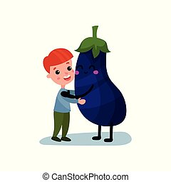 Sweet little boy hugging giant eggplant vegetable character, best friends, healthy food for kids cartoon vector Illustration