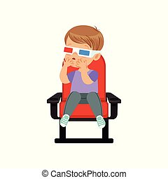 Sweet little boy in 3d glasses sitting on a red chair and...