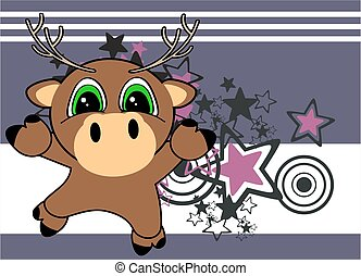sweet little deer baby cartoon card