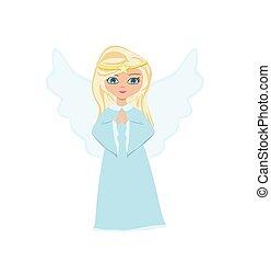 sweet little girl angel Praying, isolated illustration