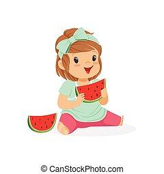 Sweet little girl enjoying eating watermelon cartoon vector Illustration
