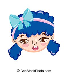 sweet little girl face with ribbon in blue hair isolated icon design white background