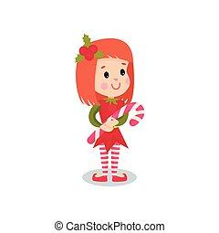 Sweet little girl in the costume of Elf, kid in festive...