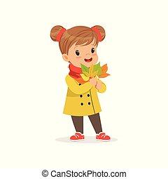 Sweet little girl in warm clothing holding autumn leaves, cute kid enjoying fall, autumn kids activity vector Illustration